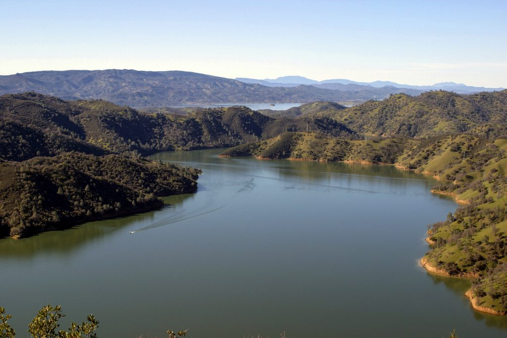 This image shows the aerial view of Berryessa Lake